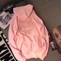 """""""Kenzo"""" Women Casual Fashion Letter Tiger Head Embroidery Long Sleeve Hooded Sweater Pullover Sweatshirt Hoodie Tops"""