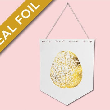Human Brain Anatomical Real Gold Foil - Anatomy Wall Art - Medical Art - Anatomy Poster - Gold Foil Pennant - Hanging Wall Art - Wall Banner