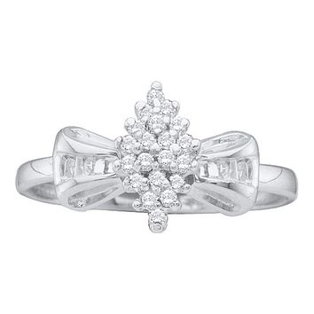10kt White Gold Women's Round Prong-set Diamond Oval Cluster Baguette Ring 1/10 Cttw - FREE Shipping (US/CAN)