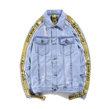 Off-White Fashion Print Distressed Denim Cardigan Jacket Coat