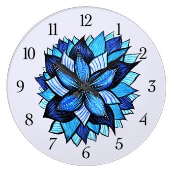 Beautiful Abstract Blue Flower Ink Drawing Large Clock