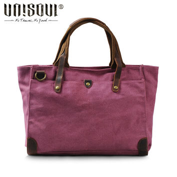 UNISOUL 2016 New Canvas Solid Handbags Casual Women's shoulder bags Vintage High Quality Crossbody bag England Style Tote bags