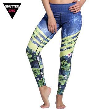 Shutterchic Sock Harajuku Fitness Leggings Women Leaf Print Leggins Jogging Femme 2017 Summer High Waist Jeggings Running Tights