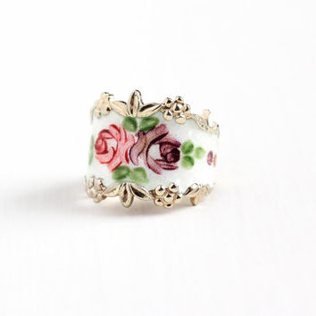 Vintage Sterling Silver Gold Washed Guilloche Enamel Flower Ring - 1950s Size 6 Pink & Purple Rose Vermeil Signed Espo Cigar Band Jewelry