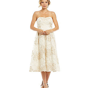 Jessica Simpson Strapless Floral Midi Dress | Dillards.com