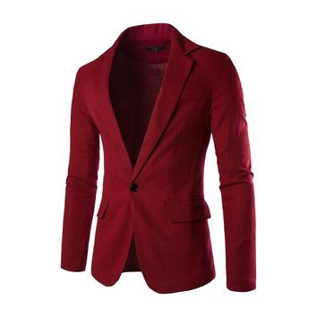Hot Selling New One Button Men Blazer Slim Fit