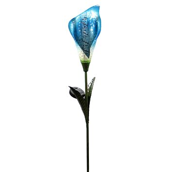 Home & Garden BLUE SOLAR CALLA LILY BUBBLE STAKE Metal Lights Up Night 11250