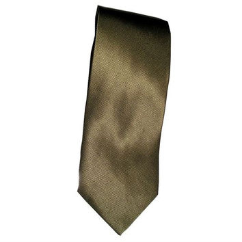 Vintage LAURENT BENON Paris Minimalist Olive Green Bronze Italian Silk Necktie - New Old Stock