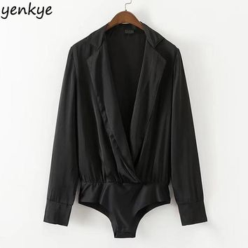 European Style Women Vintage Black Satin Bodysuit Shirt Long Sleeve