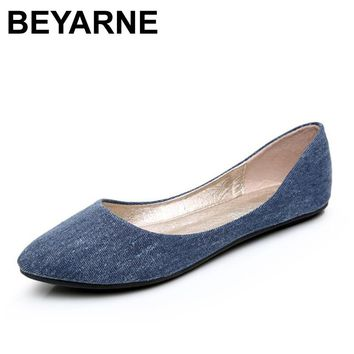 BEYARNE New Women Soft Denim Flats Blue Fashion High Quality Basic Pointy Toe Ballerina Ballet Flat Slip On Office Shoes