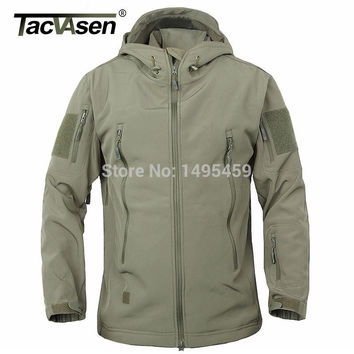 TACVASEN Men Brand Clothing Army Military Tactical Jacket men Soft Shell Waterproof Windproof Man Jacket Coat Plus Size 4XL