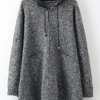 Black PU Hooded Zip-Up Coat