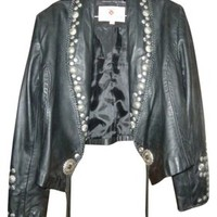 Maverick Womens Leather Western Cowgirl Studded Concho Embellished 12 Leather Jacket