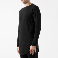 KNYEW Black E-Long Scoop L/S T-Shirt | HYPEBEAST Store.