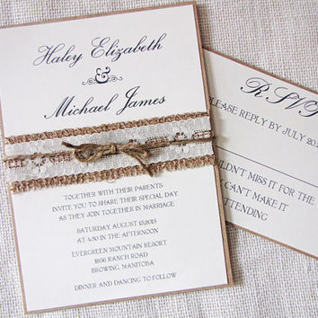 Rustic Country Lace and Burlap Wedding Invitation  Sample Listing