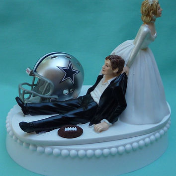 Wedding Cake Topper Dallas Cowboys Football Themed w/ Garter, Display Box
