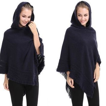 Casual Winter Sweater Hooded Poncho