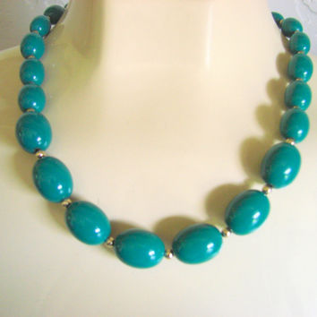 Vintage Monet Jade Lucite Bead Choker Necklace / Designer Signed / Gold Tone Beads / Jewelry / Jewellery