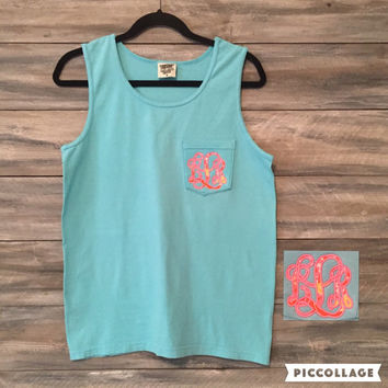 Comfort Colors Pocket Tank with Lilly Pulitzer Monogram Pocket, Monogram Tshirt, Lilly Pulitzer, Personalized Tank