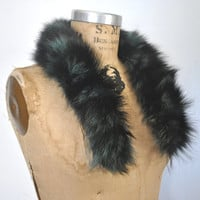 Teal and Black Fox Fur Collar / genuine fur / 1980s