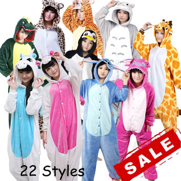 Unicorn Stitch Panda Unisex Flannel Hoodie Pajamas Costume Cosplay Animal Onesuits Sleepwear For Men Women Adults Child