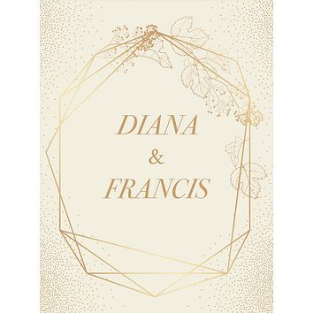 Custom Elegant Geometric Border Frame Gold Polka Dot Backdrop (Any Color) Background - C0282