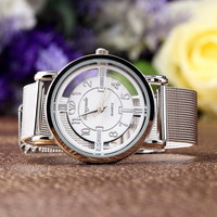 Women Lady Fashion Stainless Steel Mesh Analog Bracelet Wrist Watch (Color: White) = 1956993028