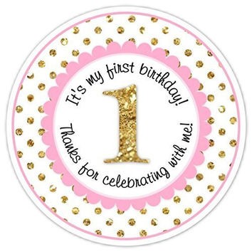 36 Pink and Gold Birthday Stickers, 1st Birthday Stickers, Pink and Gold Polka Dot First Birthday Labels