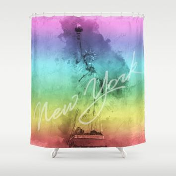 New York City - Statue of Liberty - Gay - LGBT Shower Curtain by Pentagonixmedia
