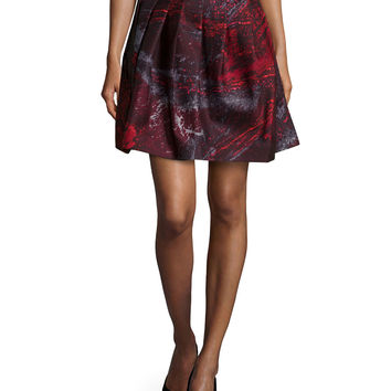 Pleated A-Line Skirt, Pomegranate, Size: