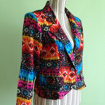 Womens Hippie Blazer, Vintage Tribal Coat, 90s Bohemian Jacket, Boho Chic Clothing, Funky Kitch Coat, Peacock Rainbow Top, Fitted Blazer, M