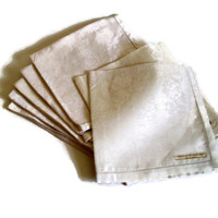 Vintage Linen Napkins White Brocade Irish Linen Drawnwork Edges Set of 7