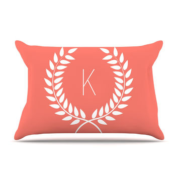 "KESS Original ""Coral Wreath Monogram"" Pillow Case"