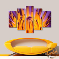 5 Panel Canvas Art Buds Blossoming Flower Painting Modern Home Decor Canvas Prints Artwork Picture for Bedroom No Frame