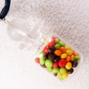 MINIATURE JAR NECKLACE Candy Gumball M&Ms Smarties by dinkydodger