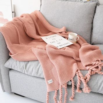 130X170CM Home Decoration Nordic Style Casual Knitted Blankets with Tassel Pink Throw Blankets for Sofa Bed Cover Plaid