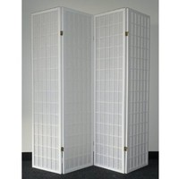 Legacy Decor 4-panel White Wood Shoji Screen / Room Divider