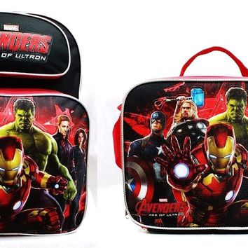 "Avengers Boys 16"" Canvas Black & Red School Backpack with Insulated Lunch Bag"