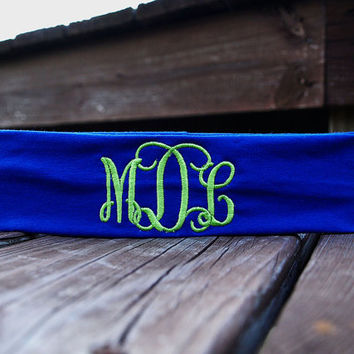 Monogrammed Headband Custom Embroidered Personalized Headband