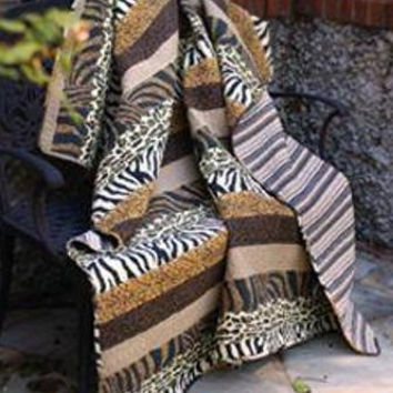 Animal Print Quilt Afghan Throw Blanket