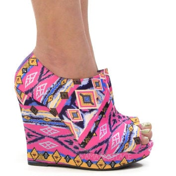 Hot HIPPIE Aztec Tribal Pink Wedge Booties