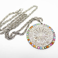 Zodiac Pendant Necklace  - Silver tone - Multi Colored Rhinestones - Astrology Signs - Birth Signs Pendant on Skinny Chain - Vintage 1970s