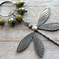 Dragonfly Necklace Long Silver Sage Green Spring Summer Insect Whimsical Casual