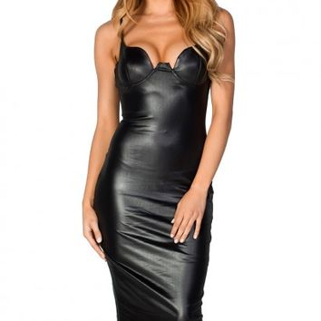 Drea Black Faux Leather Spaghetti Strap Bustier Midi Dress