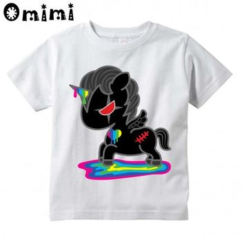 Boys/Girls Black Unicorn Slayer Design T Shirt Kids Cool Casual Tops Children's Summer White T-Shirt