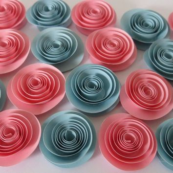 "Gender Reveal Pink and Blue Shower Decorations, 24 Paper roses set, 1.5"" flowers, Table Centerpiece Decor, Gift Giving ideas, Party Games Favors"