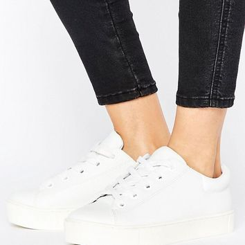 Monki Leather Look Lace Up Sneakers at asos.com