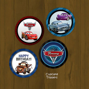 Disney CARS 2 Lightning Mc Queen Cupcake toppers - Free Cupcake Wrapper