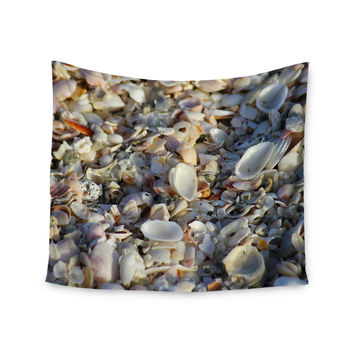 "Philip Brown ""Seashells On The Beach"" Coral Nature Wall Tapestry"