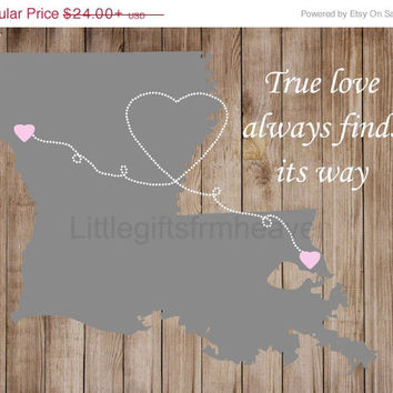 SALE True Love Heart Map- cnavas map hearts, family distance map, map with hearts, relationship map, true love map print, relationship movin